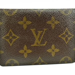 LOUIS VUITTON Brown LV Logo & Leather Card Wallet